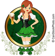 Girl with glass of beer feast of St