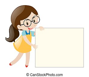 Girl with glasses holding blank paper