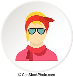 Girl with glasses icon circle