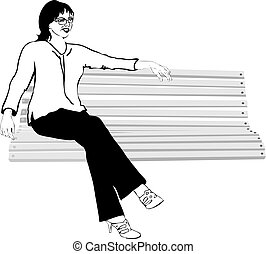 girl with glasses on the bench