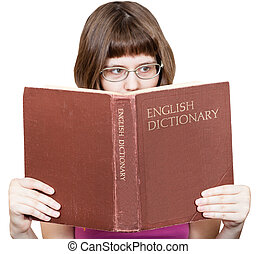 girl with glasses reads English Dictionary book