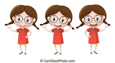 Girl with glasses wearing red dress