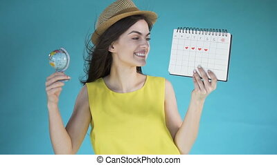 Girl with Globe and Calendar