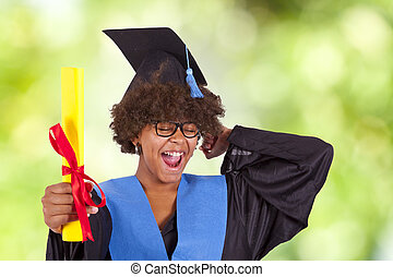 girl with graduation and diploma