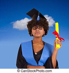 girl with graduation and diploma