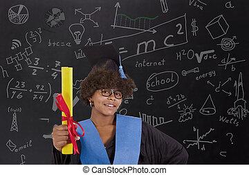 girl with graduation diploma