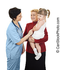 Girl with grandmother on reception at the doctor