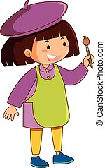 Girl with green apron holding paintbrush