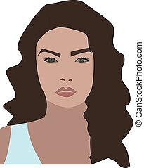 Girl with green eyes, illustration, vector on white background.