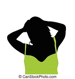 girl with green shirt vector - girl with green shirt art...