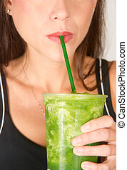 Green Smoothie - Girl with Green Smoothie
