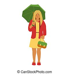 Girl with green umbrella in red jacket