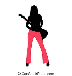 girl with guitar illustration silhouette