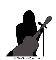 girl with guitar music illustration