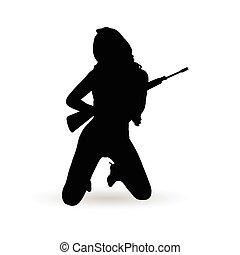 girl with gun silhouette girl with gun vector silhouette file
