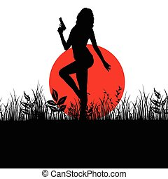 girl with gun in nature silhouette illustration