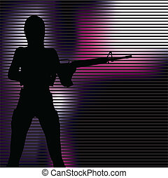 girl with gun silhouette