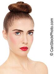 Girl with hair bun