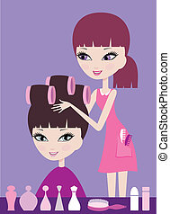 Girl with hair in curlers