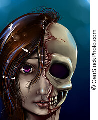 Girl with half face and skull - Illustration of a once...