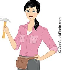 Girl with Hammer - Illustration of a Woman Wearing a Utility...