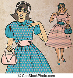 girl with handbag in retro style