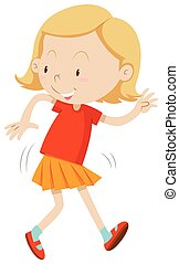 Girl with happy face dancing