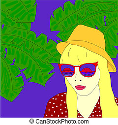 Girl with hat and sunglasses