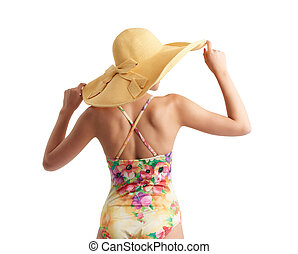 Girl with hat and swimsuit isolated on white background