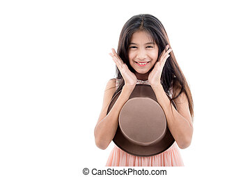 girl with hat, isolated on white background