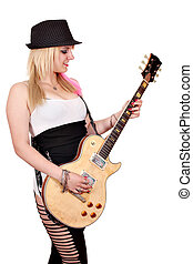 girl with hat play electric guitar