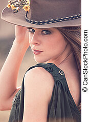 girl with hat portrait