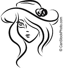 Girl with hat sketch, vector or color illustration.