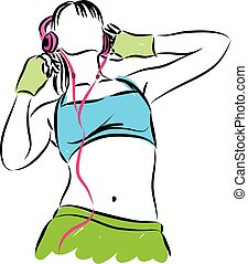 girl with headphones fitness illust