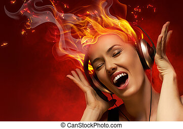 girl with headphones in the club