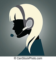 Girl with headset - Illustration of a young girl with ...