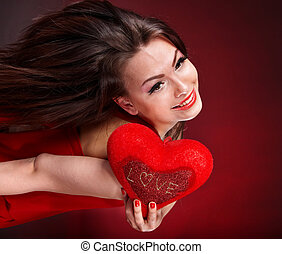 Girl with heart in red flying. Valentines day. - Girl with...