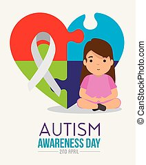 girl with heart puzzle and ribbon to autism day vector...