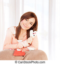 Girl with heart soft toy