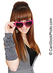 girl with heart sunglasses