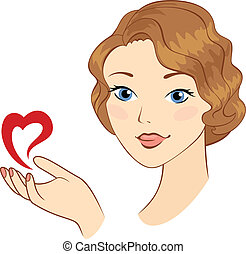 Girl with heart symbol.