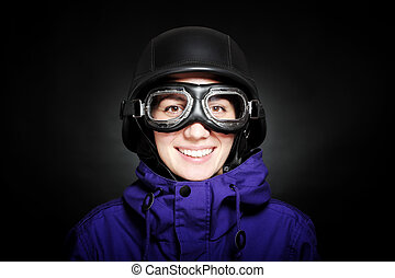 girl with helmet and goggles