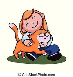 Girl with her cat cartoon