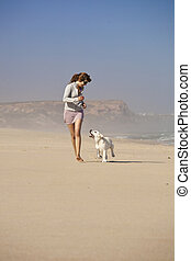 Girl with her cute dog