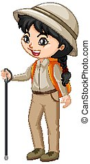 Girl with hiking gears on white background
