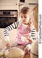 Girl with homemade pastry in the bow