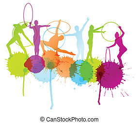 Girl with hoop silhouette vector abstract background concept with ink splashes for poster