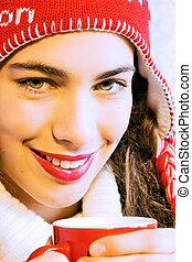 Girl With Hot Drink - Pretty smiling girl in winter clothes ...