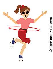 girl twirling hula hoop around her waist