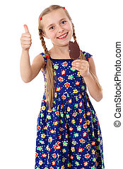 Girl with ice cream and thumb up sign